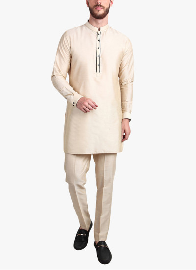 Indian Fashion Designers - Alvin Kelly - Contemporary Indian Designer - Beige Solid Kurta - ALK-SS16-ALK-KRT-1262