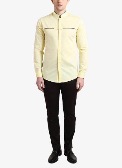 Indian Fashion Designers - Alvin Kelly - Contemporary Indian Designer - Lemon Solid Casual Shirt - ALK-SS16-ALK-SHT-1001