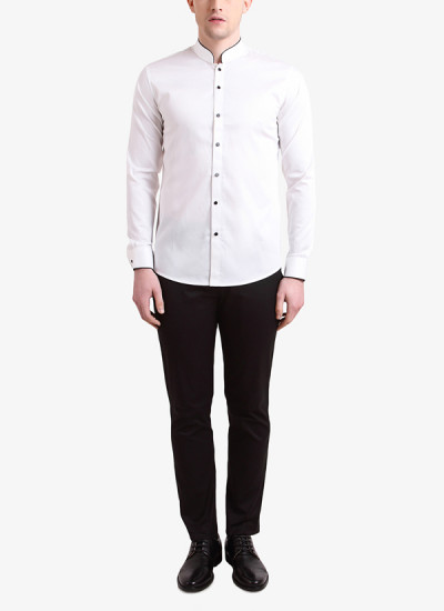 Indian Fashion Designers - Alvin Kelly - Contemporary Indian Designer - White Slim Fit Casual Shirt - ALK-SS16-ALK-SHT-1007