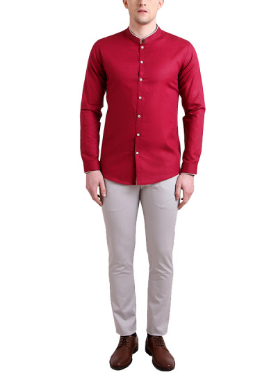 Indian Fashion Designers - Alvin Kelly - Contemporary Indian Designer - Red Solid Slim Fit Shirt - ALK-SS16-ALK-SHT-1018