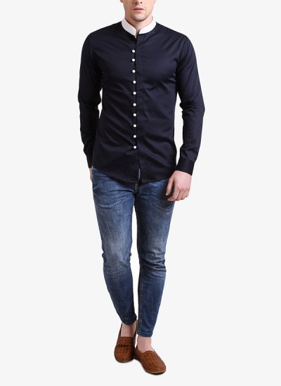 Indian Fashion Designers - Alvin Kelly - Contemporary Indian Designer - Navy Blue Solid Slim Fit Shirt - ALK-SS16-ALK-SHT-1026