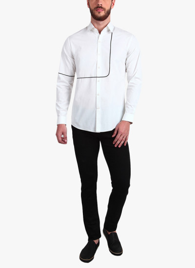 Indian Fashion Designers - Alvin Kelly - Contemporary Indian Designer - White Solid Slim Fit Casual Shirt - ALK-SS16-ALK-SHT-1167