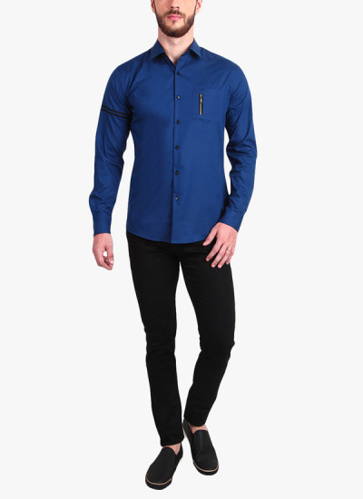 Indian Fashion Designers - Alvin Kelly - Contemporary Indian Designer - Charming Blue Solid Casual Shirt - ALK-SS16-ALK-SHT-1177