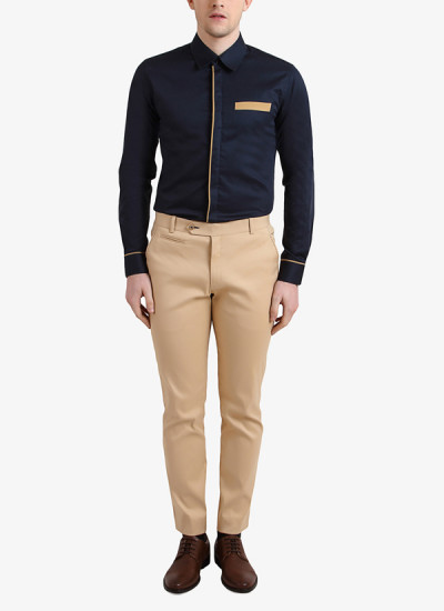 Indian Fashion Designers - Alvin Kelly - Contemporary Indian Designer - Navy Blue Solid Casual Shirt - ALK-SS16-ALK-SHT-964