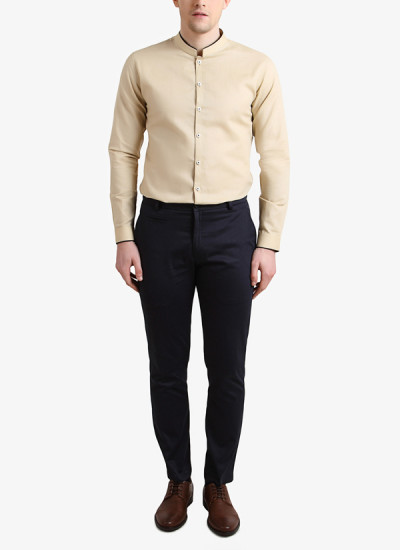 Indian Fashion Designers - Alvin Kelly - Contemporary Indian Designer - Timeless Beige Shirt - ALK-SS16-ALK-SHT-982