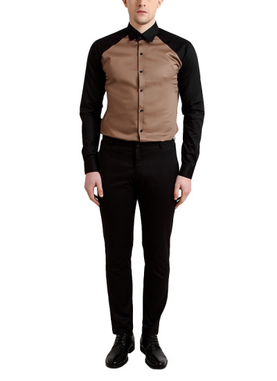 Indian Fashion Designers - Alvin Kelly - Contemporary Indian Designer - Stylish Brown Casual Shirt - ALK-SS16-ALK-SHT-988