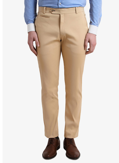 Indian Fashion Designers - Alvin Kelly - Contemporary Indian Designer - Beige Solid Slim Fit Chinos - ALK-SS16-ALK-TRS-1067