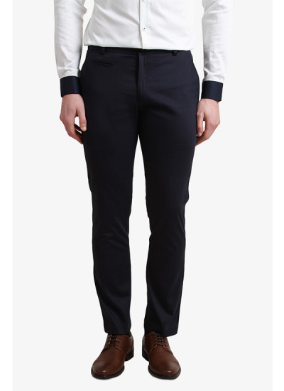 Indian Fashion Designers - Alvin Kelly - Contemporary Indian Designer - Navy Blue Solid Slim Fit Chinos - ALK-SS16-ALK-TRS-1069