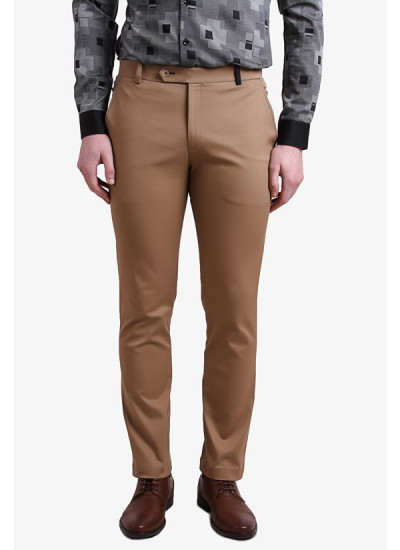 Indian Fashion Designers - Alvin Kelly - Contemporary Indian Designer - Brown Solid Slim Fit Chinos - ALK-SS16-ALK-TRS-1073