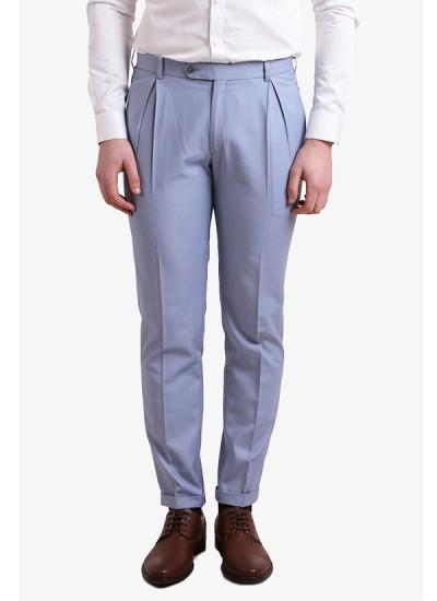 Indian Fashion Designers - Alvin Kelly - Contemporary Indian Designer - Blue Solid Slim Fit Formal Trouser - ALK-SS16-ALK-TRS-1075