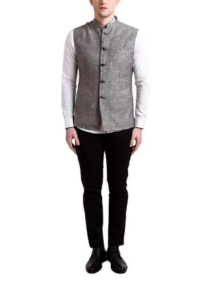 Indian Fashion Designers - Alvin Kelly - Contemporary Indian Designer - Grey Solid Nehru Jacket - ALK-SS16-ALK-WKT-1100