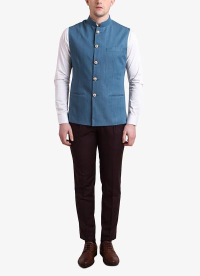 Indian Fashion Designers - Alvin Kelly - Contemporary Indian Designer - Blue Solid Nehru Jacket - ALK-SS16-ALK-WKT-1102