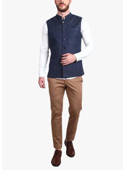 Indian Fashion Designers - Alvin Kelly - Contemporary Indian Designer - Navy Blue Printed Nehru Jacket - ALK-SS16-ALK-WKT-1218