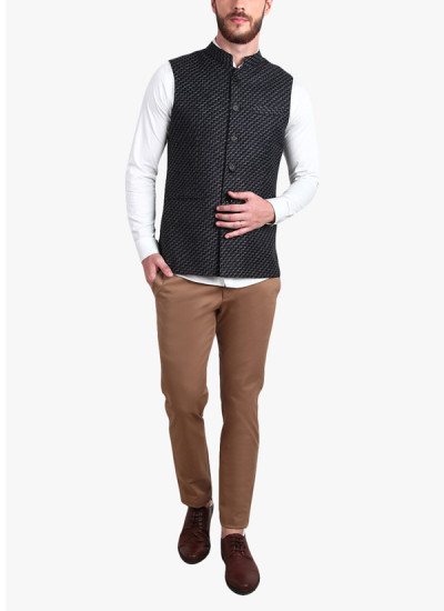 Indian Fashion Designers - Alvin Kelly - Contemporary Indian Designer - Black Printed Nehru Jacket - ALK-SS16-ALK-WKT-1222