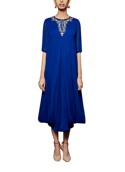 Indian Fashion Designers - Anita Dongre - Contemporary Indian Designer - The Shriya Ink Blue Tunic - AD-AW16-PH3-FW16MB096