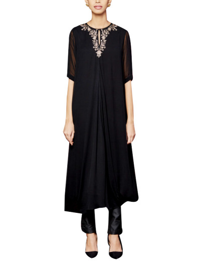 Indian Fashion Designers - Anita Dongre - Contemporary Indian Designer - The Shriya Black Tunic - AD-AW16-PH3-FW16MB096A
