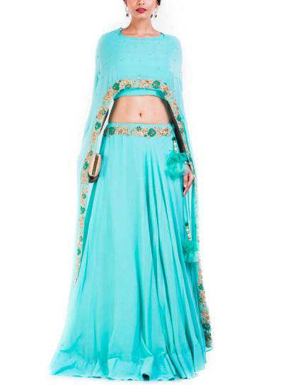 Indian Fashion Designers - Anju Agarwal - Contemporary Indian Designer - Sky Blue Cape Lehenga Set - ANJA-AW16-LGA-346