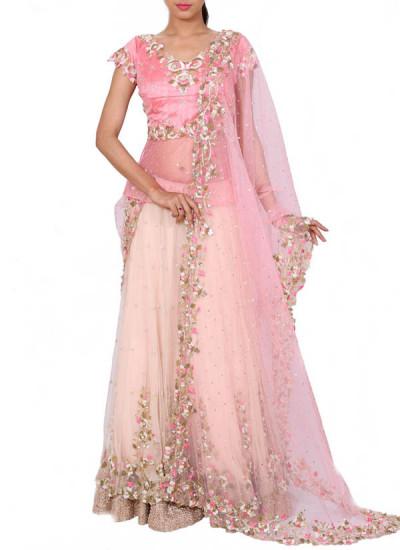Anju Agarwal Layered Embroidered Baby Pink Lehenga