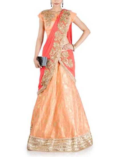 Indian Fashion Designers - Anju Agarwal - Contemporary Indian Designer - Pastel Orange and Tomato Red Lehenga Saree - ANJA-AW16-LGA374