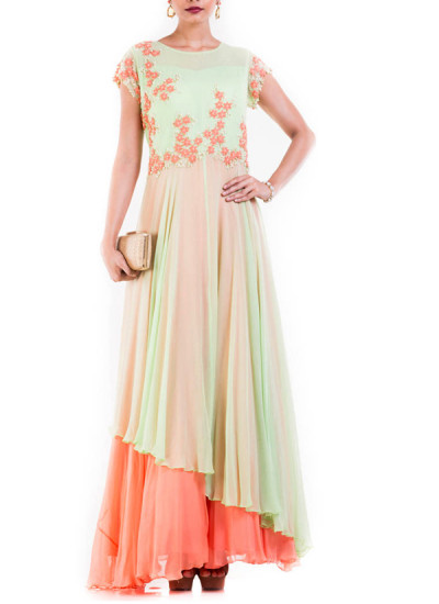 Indian Fashion Designers - Anju Agarwal - Contemporary Indian Designer - Pastel Green And Orange Sleeveless Double Layer gown - ANJA-AW16-LKA-3291