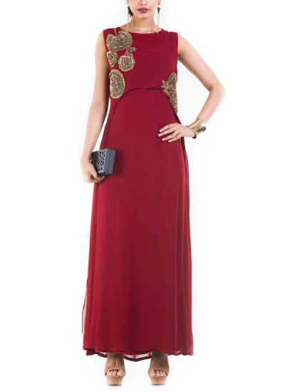 Indian Fashion Designers - Anju Agarwal - Contemporary Indian Designer - Rosewood Maroon Cape Gown - ANJA-AW16-LSA-6982