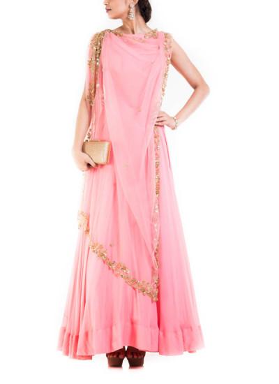 Indian Fashion Designers - Anju Agarwal - Contemporary Indian Designer - Pink Long Salwar Suit - ANJA-AW16-LSA-6985