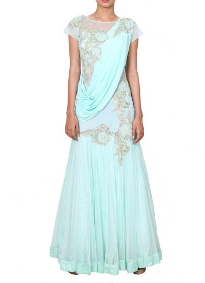 Indian Fashion Designers - Anju Agarwal - Contemporary Indian Designer - Aqua Drape Gown Saree - ANJA-AW16-LSA6576