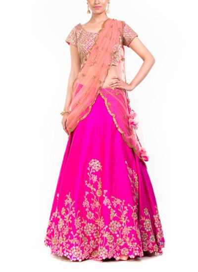 Indian Fashion Designers - Anushree Agarwal - Contemporary Indian Designer - Rani Peach Heavy Lehenga - ANUA-AW16-AEL064