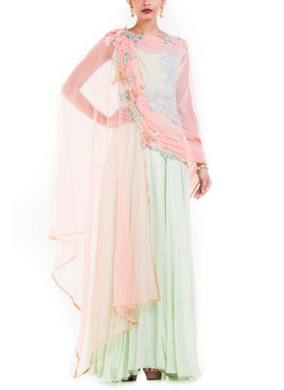 Indian Fashion Designers - Anushree Agarwal - Contemporary Indian Designer - Mint Green Suit - ANUA-AW16-AES-477