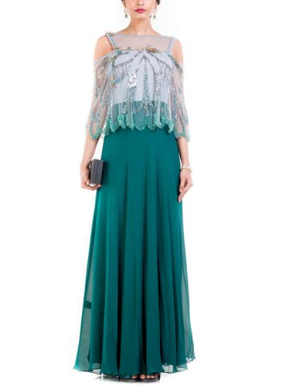 Indian Fashion Designers - Anushree Agarwal - Contemporary Indian Designer - Olive Green Dress - ANUA-AW16-AWD-393