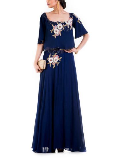 Indian Fashion Designers - Anushree Agarwal - Contemporary Indian Designer - Indigo Blue Dress - ANUA-AW16-AWD-403