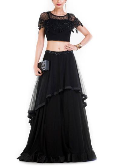 Indian Fashion Designers - Anushree Agarwal - Contemporary Indian Designer - Black Layered Lehenga - ANUA-AW16-AWD-408