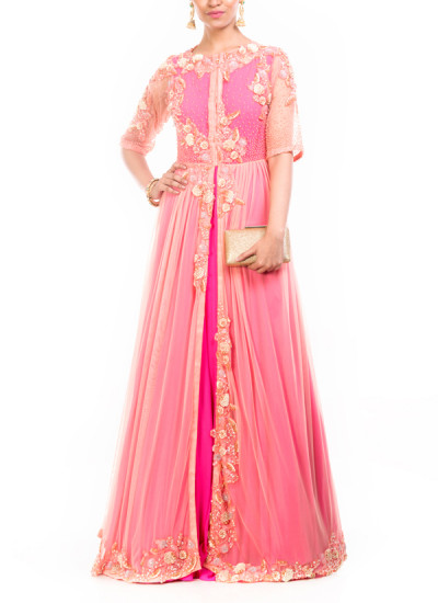 Indian Fashion Designers - Anushree Agarwal - Contemporary Indian Designer - Jacket Style Fuchsia Pink Gown - ANUA-AW16-AWD319BY1