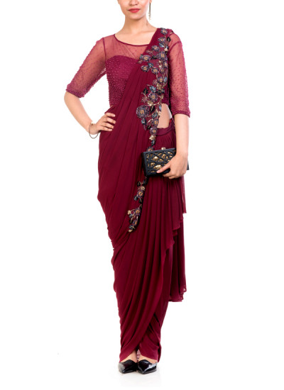 Indian Fashion Designers - Anushree Agarwal - Contemporary Indian Designer - Wine Dhoti Drape Saree - ANUA-AW16-AWD324