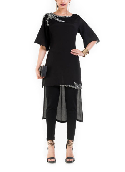 Indian Fashion Designers - Anushree Agarwal - Contemporary Indian Designer - Black Long Short Tunic with Box Sleeves - ANUA-AW16-AWT-3025