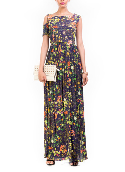 Indian Fashion Designers - Anushree Agarwal - Contemporary Indian Designer - Midnight Botanical Printed High Slit Maxi - ANUA-AW16-AWT2231