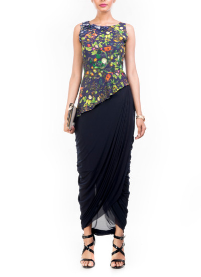 Indian Fashion Designers - Anushree Agarwal - Contemporary Indian Designer - Asymmetrical Printed Peplum Skirt Set - ANUA-AW16-AWT2243BY2244