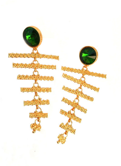 Indian Fashion Designers - Artsie Ville - Contemporary Indian Designer - Dark Green Chariss Earrings - ARV-AW16-AVE018
