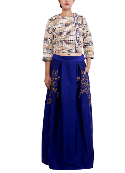 Indian Fashion Designers - Chrkha - Contemporary Indian Designer - Crop Top with Skirt - DMC-AW16-CTS-03