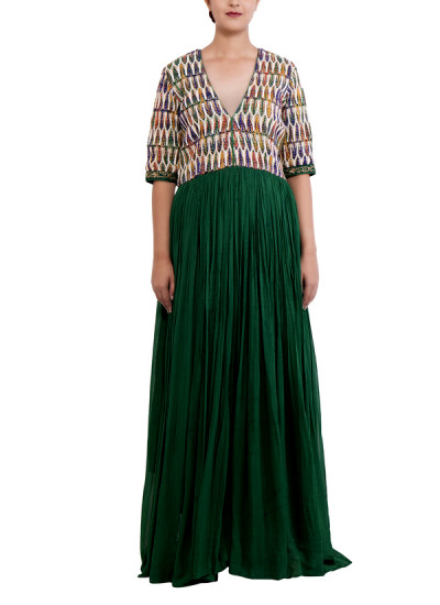 Indian Fashion Designers - Chrkha - Contemporary Indian Designer - Crinkled Dress with Handwoven Yoke - DMC-AW16-DRS-05