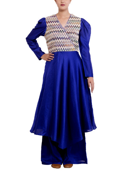 Indian Fashion Designers - Chrkha - Contemporary Indian Designer - Tunic and Wide Pants Set - DMC-AW16-TWP-02
