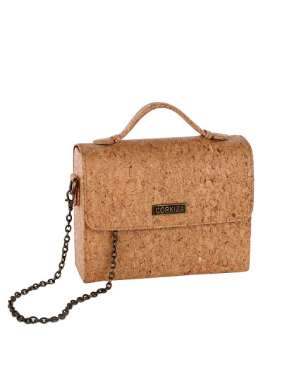 Indian Fashion Designers - Corkiza - Contemporary Indian Designer - Sling Natural Oak Bag in Cork - CKZ-AW16-CKZ02B