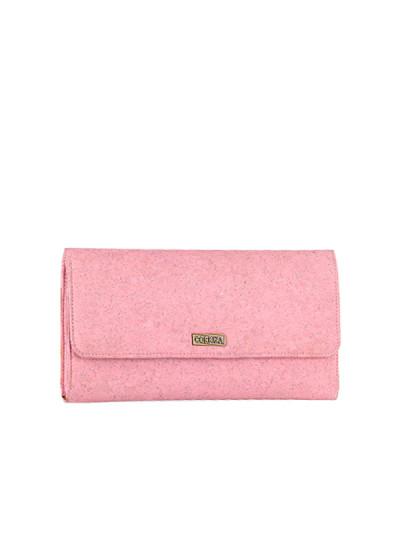 Indian Fashion Designers - Corkiza - Contemporary Indian Designer - Classic Pink Cork Clutch - CKZ-AW16-CKZ11A