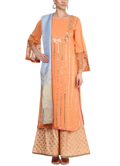 Indian Fashion Designers - Devnaagri - Contemporary Indian Designer - Stylish Peach Tunic Set - DEV-AW16-HS-93