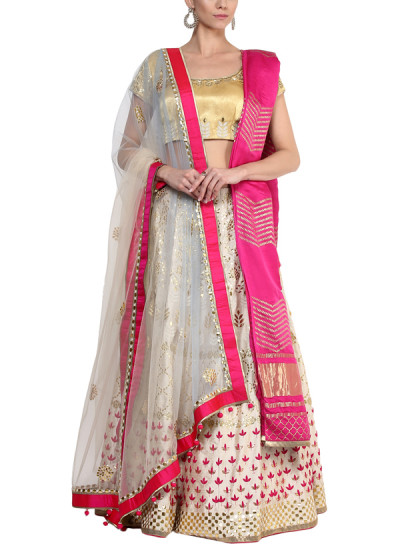 Indian Fashion Designers - Devnaagri - Contemporary Indian Designer - Pretty Gota Patti Lehenga - DEV-AW16-LN-26