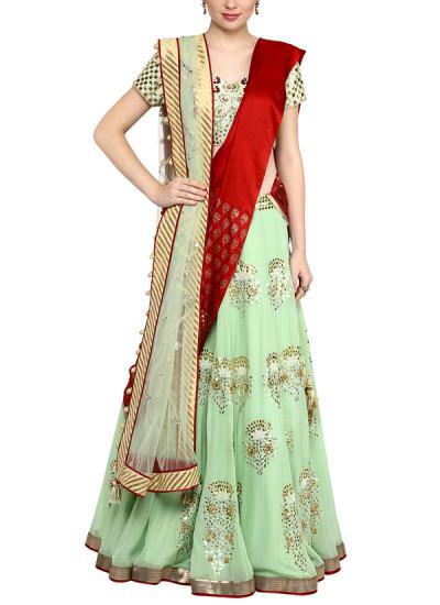 Indian Fashion Designers - Devnaagri - Contemporary Indian Designer - Mint Green Gota Patti Lehenga - DEV-AW16-LN-28