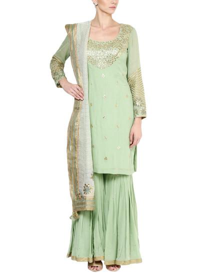 Indian Fashion Designers - Devnaagri - Contemporary Indian Designer - Pista Green Sharara - DEV-AW16-SH-11