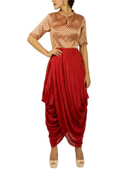 Indian Fashion Designers - Kakandora - Contemporary Indian Designer - Red Dhoti Dress - KAK-AW16-KAKDH01