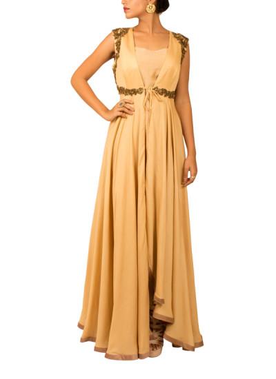 Indian Fashion Designers - Kakandora - Contemporary Indian Designer - Long Cream Anarkali - KAK-AW16-KAKPF011