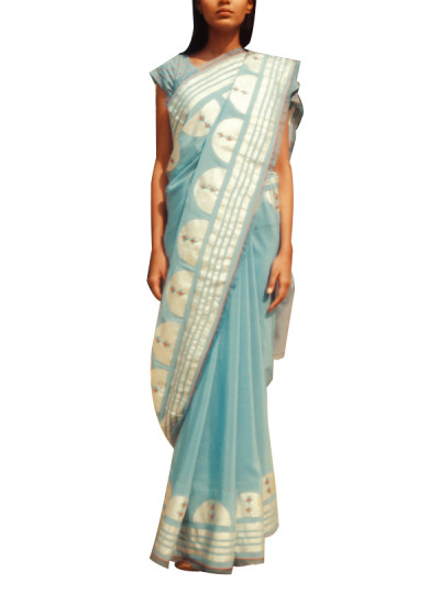 Indian Fashion Designers - Kanelle - Contemporary Indian Designer - Light Blue Embroidered Saree - KAN-AW16-KAN-AP-16IF26